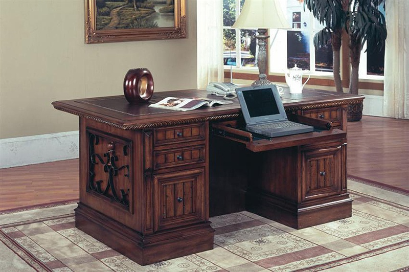 Barcelona Double Pedestal Executive Desk In Dark Red Walnut Finish By Parker  House   BAR 480 3