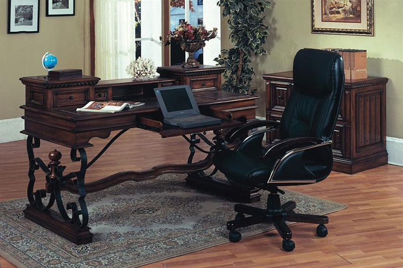 Barcelona Writing Desk In Dark Red Walnut Finish By Parker House   BAR 485