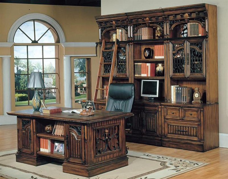 barcelona 9 piece home office suite with double pedestal executive desk in dark red walnut finish by parker house bar 520 9