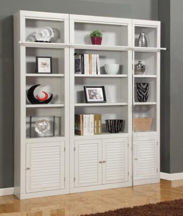 Boca 3 Piece Bookcase Library Wall In Cottage White Finish By Parker House Boc 411 3bc