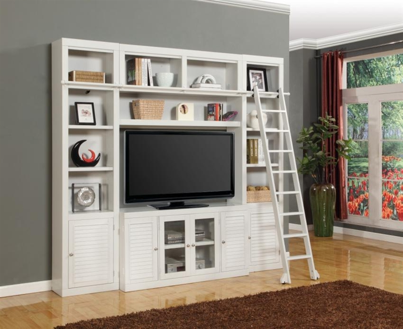 Boca 4 Piece Tv Library Wall In Cottage White Finish By Parker House Boc 411