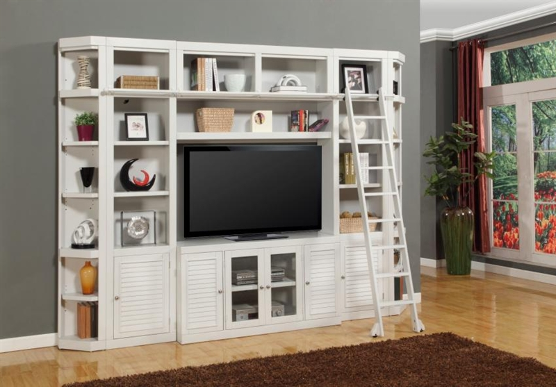 Boca 6 Piece Tv Library Wall In Cottage White Finish By Parker House Boc 411 6