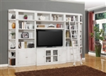 Boca 6 Piece TV Library Wall in Cottage White Finish by Parker House - BOC-411-6B