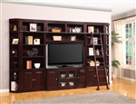 Boston 6 Piece TV Library Wall in Merlot Finish by Parker House - BOS-411-6B