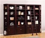Boston 6 Piece Bookcase Library Wall in Merlot Finish by Parker House - BOS-411-6BC