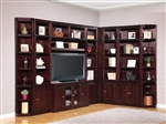 Boston 9 Piece TV Library Wall in Merlot Finish by Parker House - BOS-411-9