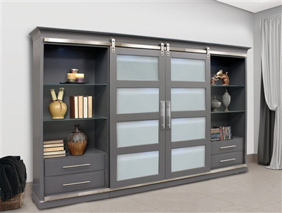 Cascade Sliding Door Entertainment Wall in Peppercorn Grey Finish by Parker House - CAS#1067-4