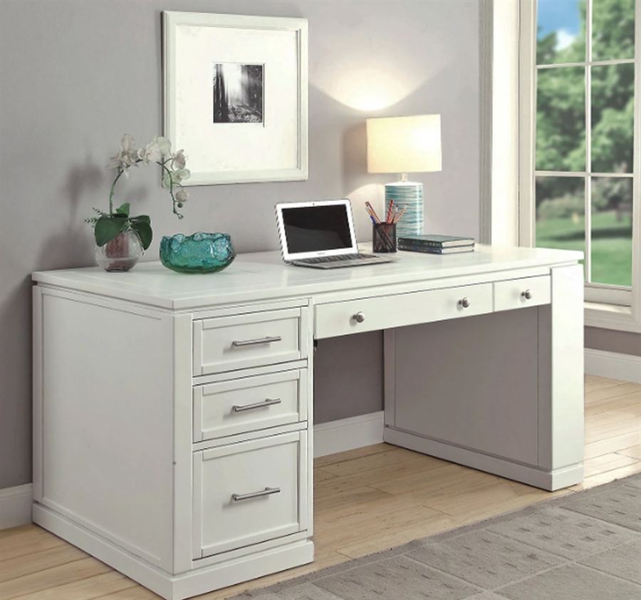 Catalina 2 Piece 60 Inch Writing Desk In Cottage White Finish By