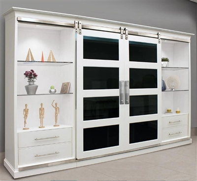 Celestial Sliding Door Entertainment Wall in Pixie White Finish by Parker House - CEL#1067-4