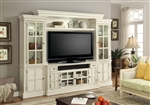 Charlotte 4 Piece 62 Inch Entertainment Wall in Antique Vintage White Finish by Parker House - CHA-162-4