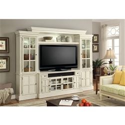 Charlotte 4 Piece 72 Inch Entertainment Wall in Antique Vintage White Finish by Parker House - CHA-172-4