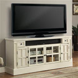 Charlotte 62 Inch TV Console with Power Center in Antique Vintage White Finish by Parker House - CHA-62
