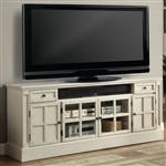 Charlotte 72 Inch TV Console with Power Center in Antique Vintage White Finish by Parker House - CHA-72