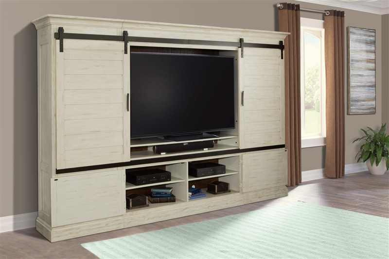 Chesapeake 4 Piece Sliding Door Entertainment Wall In Vintage Burnished Rustic White Finish By Parker House Chs 1063