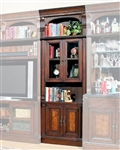 Corsica 32 Inch Glass Top Bookcase in Antique Vintage Dark Chocolate Finish by Parker House - COR-440
