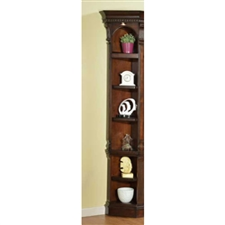 Corsica Outside Corner Bookcase in Antique Vintage Dark Chocolate Finish by Parker House - COR-450