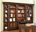 Corsica 6 Piece Home Office Bookcase Library Wall in Antique Vintage Dark Chocolate Finish by Parker House - COR-460-2-6