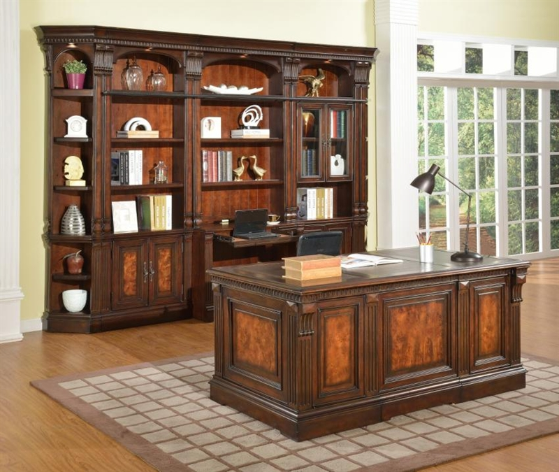 Exceptionnel Corsica 6 Piece Home Office Bookcase Library Wall In Antique Vintage Dark  Chocolate Finish By Parker House   COR 460 2 6