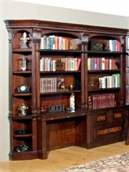 Corsica 6 Piece Bookcase Library Wall with Desk in Antique Vintage Dark Chocolate Finish by Parker House - COR-476-2-6
