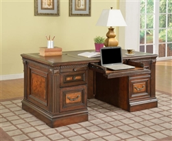 Corsica Double Pedestal Executive Desk in Antique Vintage Dark Chocolate Finish by Parker House - COR-480-3
