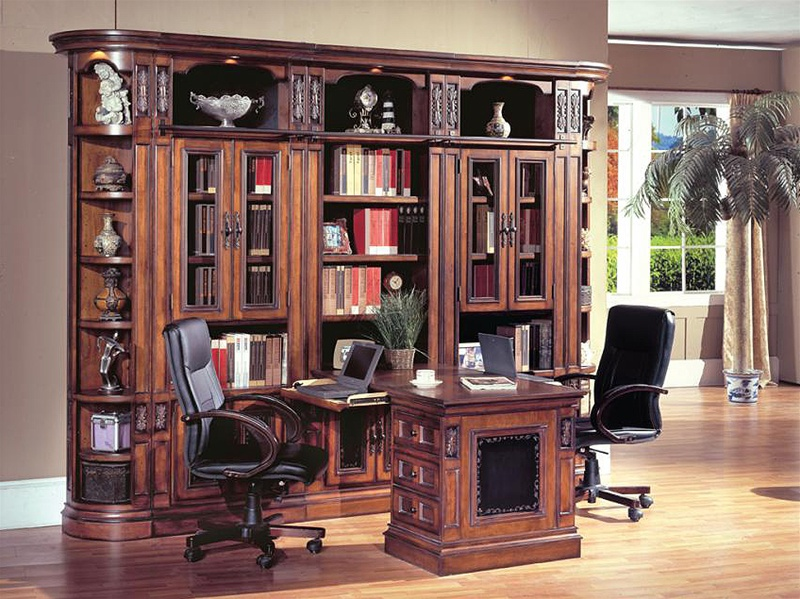 DaVinci 7 Piece Large Wall With Peninsula Desk In Dark Chestnut Finish By Parker House
