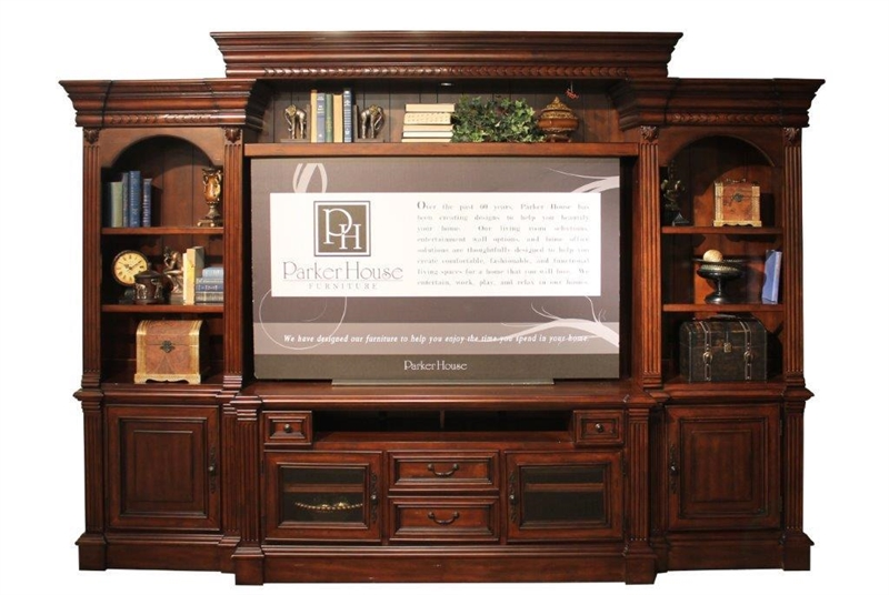 Franklin 4 Piece Entertainment Wall In Umber Finish By Parker House    FRA 100 4