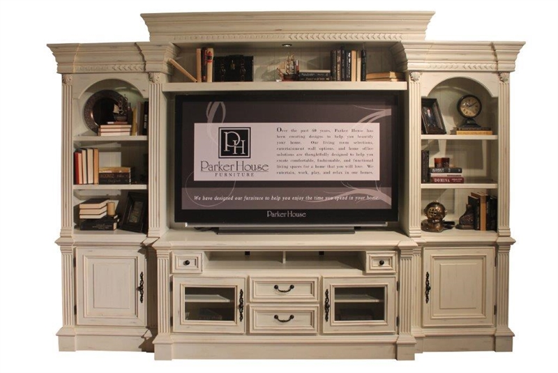 Fremont 4 Piece Entertainment Wall In Vintage Burnished White Finish By Parker  House   FRE 100 4