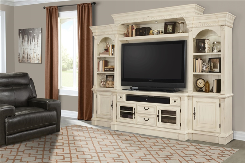e0c3cc59fa45 Fremont 65 Inch TV Console in Vintage Burnished White Finish by Parker  House - FRE-63