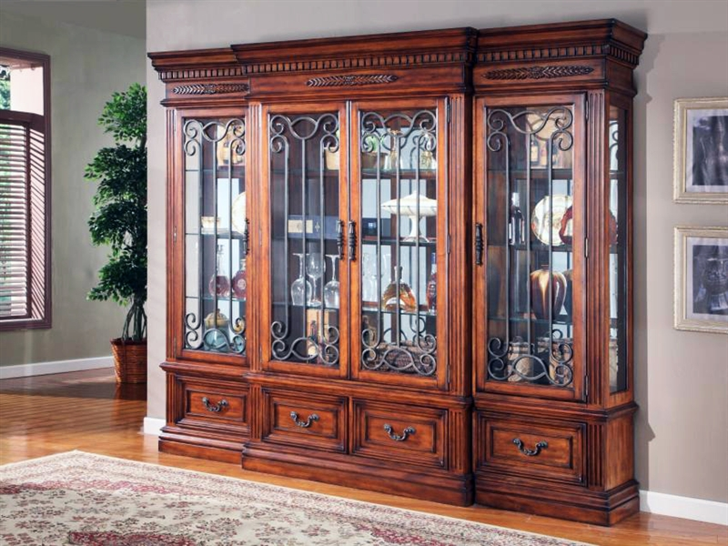 Grand Manor Granada 4 Piece Display Wall In Antique Vintage Walnut Finish  By Parker House ...