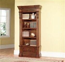 Grand Manor Granada Museum Bookcase in Antique Vintage Walnut Finish by Parker House - GGRA-9030