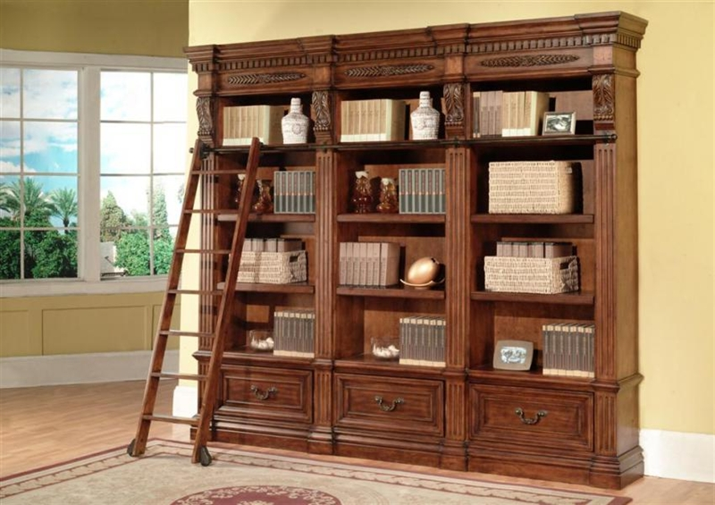 Grand Manor Granada 3 Piece Museum Bookcase In Antique Vintage Walnut Finish By Parker House