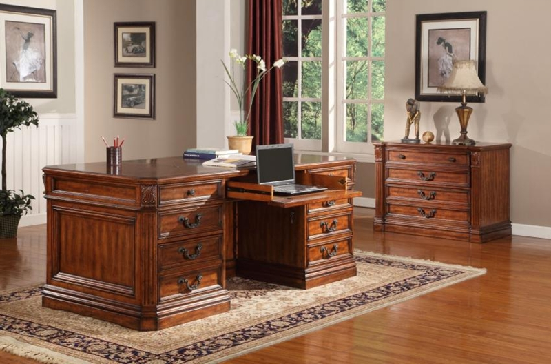 Grand Manor Granada Double Pedestal Executive Desk in Antique Vintage  Walnut Finish by Parker House - GGRA-9080-3 - Grand Manor Granada Double Pedestal Executive Desk In Antique