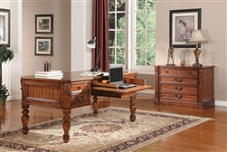 Grand Manor Granada Writing Desk in Antique Vintage Walnut Finish by Parker House - GGRA-9085