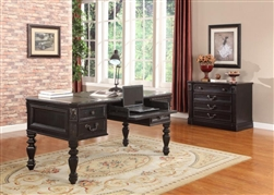 Grand Manor Palazzo Writing Desk in Vintage Burnished Black Finish by Parker House - GPAL-9085