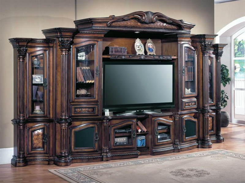 Grandview 48 72 Inch Tv 6pc Wall System In Distressed Chestnut Finish By Parker House