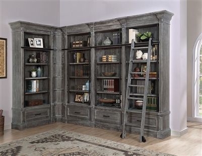 Gramercy Park 5 Piece Corner Museum Bookcase in Vintage Burnished Smoke Finish by Parker House - GRAM-9030-05