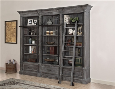 Gramercy Park 3 Piece Museum Bookcase in Vintage Burnished Smoke Finish by Parker House - GRAM-9030-3