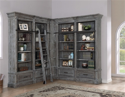 Gramercy Park 5 Piece Corner Museum Bookcase in Vintage Burnished Smoke Finish by Parker House - GRAM-9030-5
