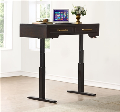 Greenwich 48 Inch Power Lift Desk (from 29 1/2 to 55 Inch) in Dark Walnut Finish by Parker House - GRE-248-2