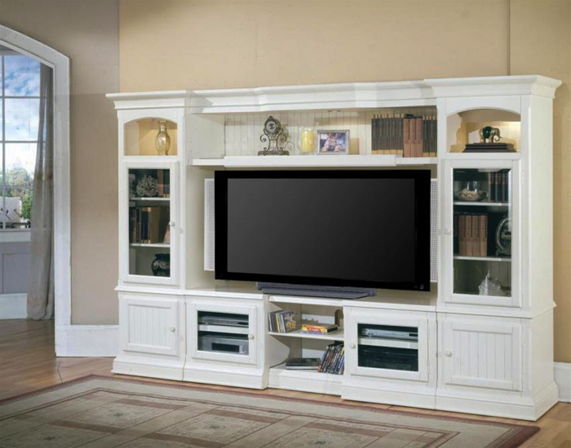 Hartford 48 72 Inch Tv X Pandable Entertainment Console 4pc Wall System In Slightly Distressed Vintage White