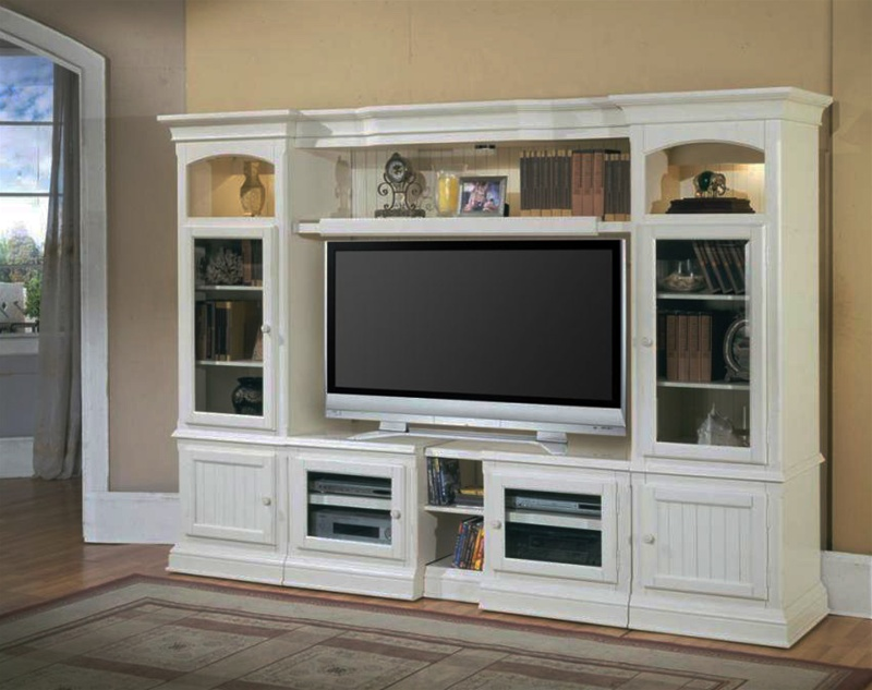White Tv Entertainment Center Part - 16: Hartford 48-72-Inch TV X-pandable Entertainment Console 4Pc Wall System In  Slightly Distressed Vintage White Finish By Parker House - HAR100-4X