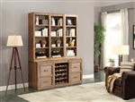 Hickory Creek 6 Piece Entertainer's Unit Bookcase Library Wall in Vintage Honey Finish by Parker House - HIC-06-ENT1