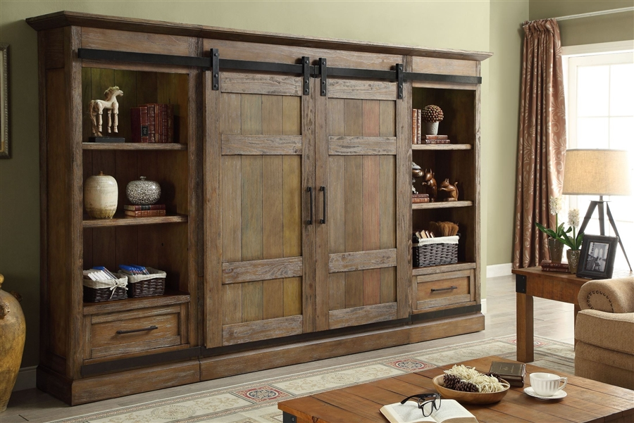Hunts Point 4 Piece Sliding Door Entertainment Wall In Weathered Pine Finish By Parker House Hpt 1063 4