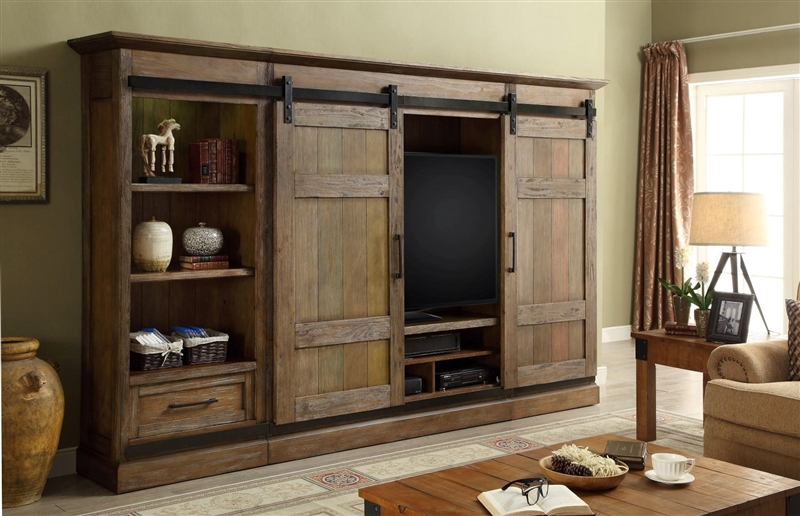 Hunts Point 4 Piece Sliding Door Entertainment Wall In Weathered Pine Finish By Parker House Hpt 1063