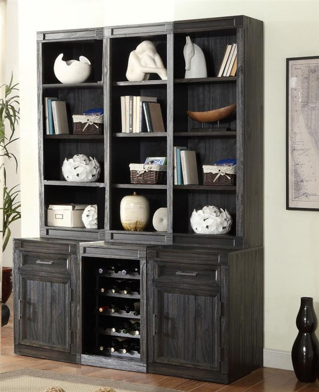 Hudson 6 Piece Entertaineru0027s Unit Bookcase Library Wall In Vintage Midnight  Finish By Parker House ...