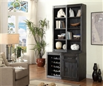 Hudson 4 Piece Entertainer's Unit Bookcase Library Wall in Vintage Midnight Finish by Parker House - HUD-4-ENT