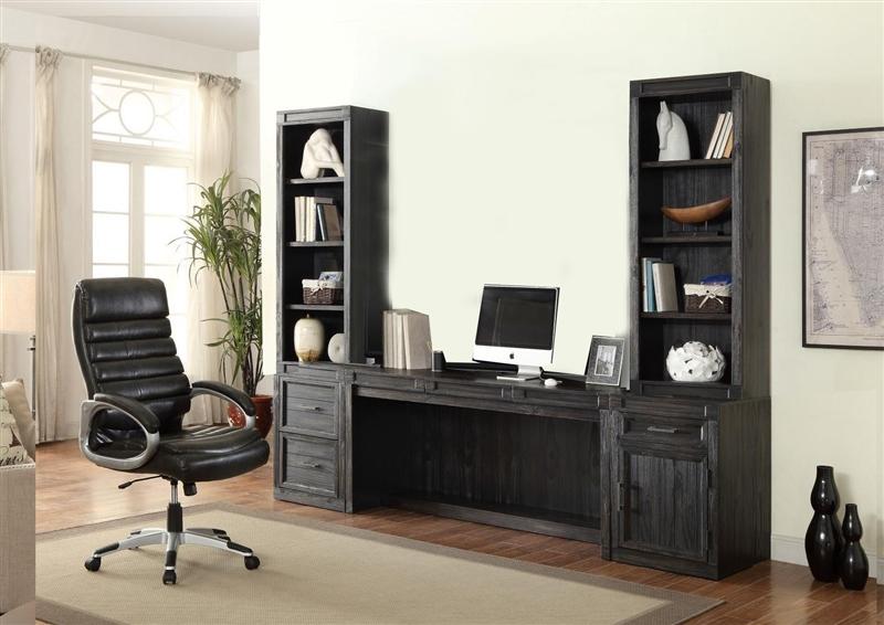 Hudson 5 Piece Home Office Desk Set In Vintage Midnight Finish By Parker  House   HUD 5 DESK
