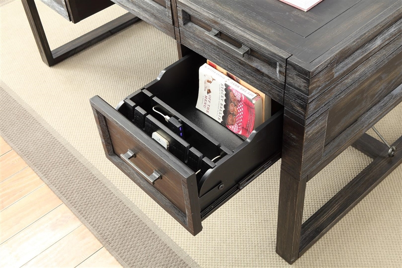 hudson 60 inch writing desk with power center in vintage midnight
