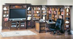 Huntington 12 Piece Entertainment Library Wall with Peninsula Desk in Chestnut Finish by Parker House - HUN-415-12