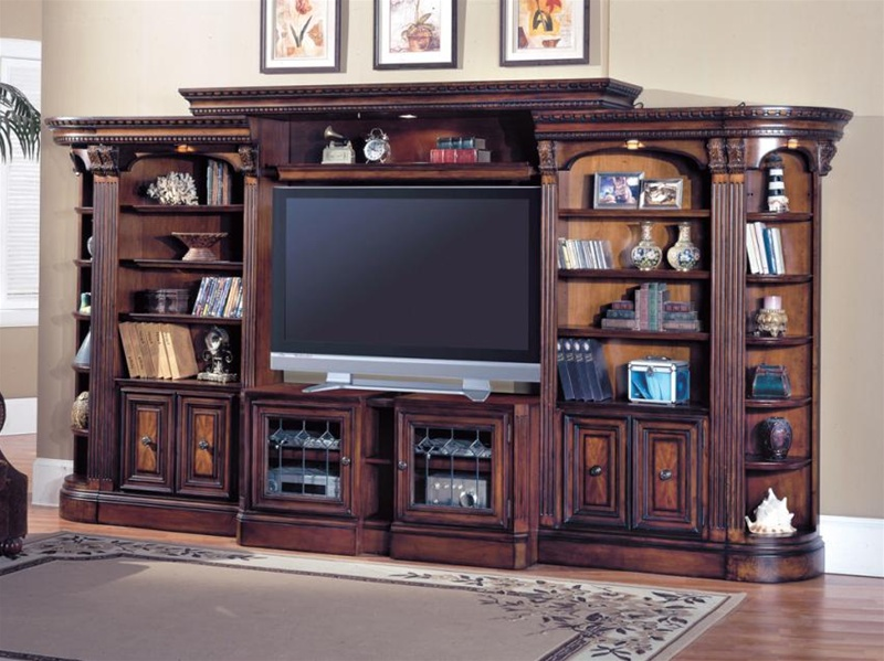 Huntington 6 Piece Entertainment Wall Unit In Chestnut Finish By Parker House Hun 415